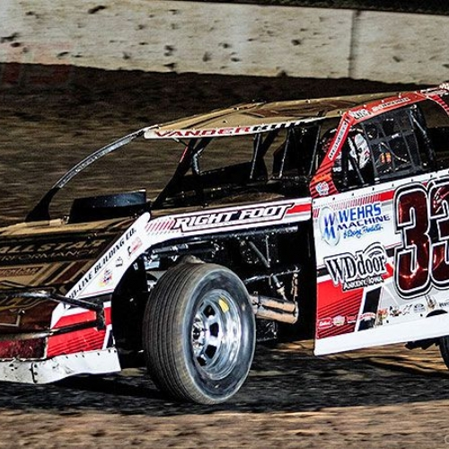 Zack VanderBeek at the 2nd Annual USMTS Chubbs Performance Midweek Modified Madness at the Ogilvie Raceway in Ogilvie, Minn., on Wednesday, June 14, 2017.