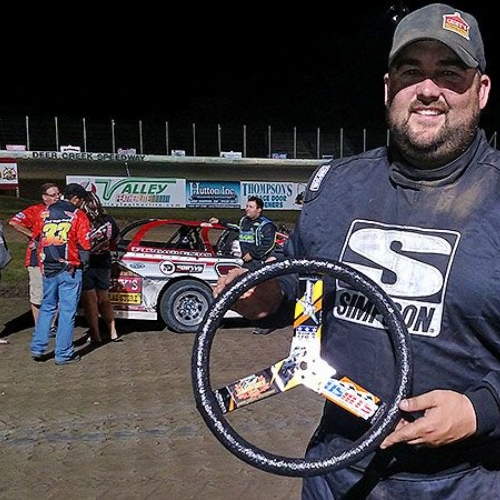Zack VanderBeek received a new steering wheel from Superior Steering Wheels for being the hard charger in the main event during the 19th Annual Featherlite Fall Jamboree at the Deer Creek Speedway in Spring Valley, Minn., on Saturday, Sept. 23, 2017.