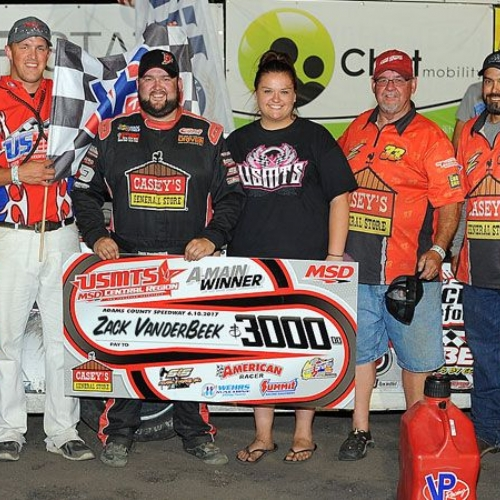 Zack VanderBeek celebrates with his family and crew after winning the 7th Annual USMTS Malvern Bank Duals at the Adams County Speedway in Corning, Iowa, on Saturday, June 10, 2017.