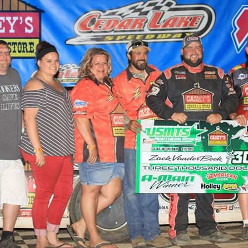 Zack VanderBeek won the RHRSwag.com Northern Region main event during the 19th Annual Masters at the Cedar Lake Speedway in New Richmond, Wis., on Thursday, June 15, 2017.