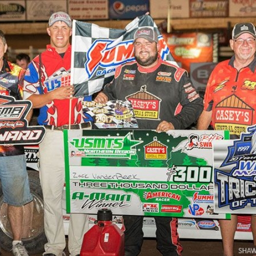 Zack in victory lane after winning Round #2 of the USMTS Badgerland Summer Shootout presented by Prestige Custom Cabinetry Round #2 at the 141 Speedway in Francis Creek, Wis., on Wednesday, July 12, 2017.