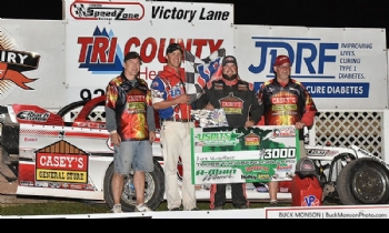 Zack in victory lane after winning Round #3 of the USMTS Badgerland Summer Shootout presented by Prestige Custom Cabinetry at the Oshkosh Speedzone Raceway in Oshkosh, Wis., on Thursday, July 13, 2017.