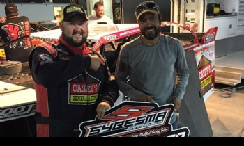 Zack VanderBeek, pictured here with Crew Chief J.D. Gresham, earned the Sybesma Graphics Pole Award at the 7th Annual USMTS Malvern Bank Duals at the Adams County Speedway in Corning, Iowa, on Saturday, June 10, 2017.