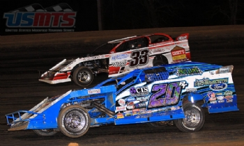 Battling with Ricky Thornton Jr. in the USMTS main event at the Ark-La-Tex Speedway in Vivian, La., on Saturday, March 4, 2017.